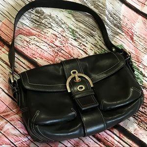 Coach Soho Black Leather Buckle Shoulder Bag